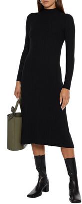 Vince Crepe-paneled Ribbed-knit Midi Dress
