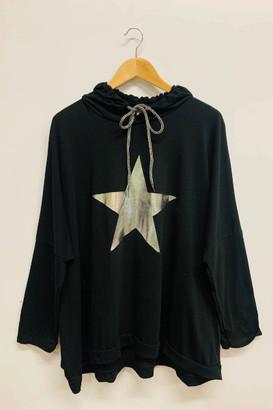 Belle-Modelle - Long Sleeve T Shirt Star Hoody Black