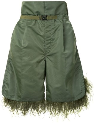 Toga Feather Trimmed Knee-Length Shorts