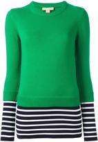 Michael Kors striped hem jumper - women - Cotton/Cashmere - M