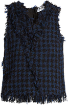 MSGM Frayed-edge sleeveless tweed top