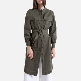 Military Button-Through Shirt Dress in Cotton Mix with Long Sleeves