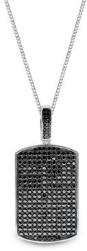 Sutton by Rhona Sutton Sutton Sterling Silver Black Cubic Zirconia Dog Tag Pendant Necklace