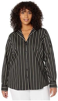 Foxcroft Plus Size Non Iron Gracey Stretch Stripe Blouse (Biscotti) Women's Clothing