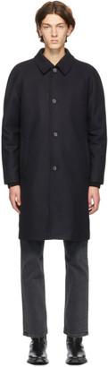 Sunflower Navy Wool Raglan Coat