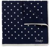 Drakes Drake ' S Polka dot print wool-silk pocket square