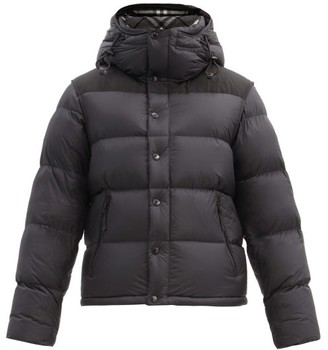 Burberry Lockwell Logo-patch Removable-sleeve Quilted Coat - Black