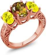 Gem Stone King 3.40 Ct Mango Mystic Topaz Canary Mystic Topaz 18K Rose Gold Plated Silver Ring