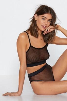 Nasty Gal Womens Sheer Bralette And Panty Set in Patterned Mesh - Black