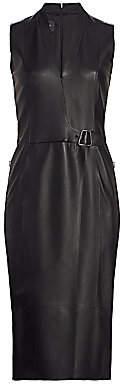 Akris Women's Wrap Effect Leather Dress