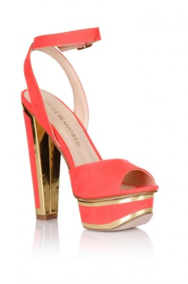 Little Mistress Coral and Gold Trim Heel Shoes