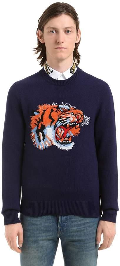 Gucci Tiger Intarsia Wool Knit Sweater