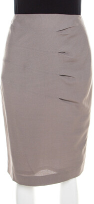 Escada Shadow Grey Wool Inverted Pleat Detail Renja Pencil Skirt M