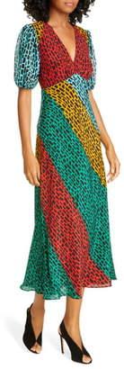 Rixo Amber Colorblock Giraffe Print Silk Blend Dress