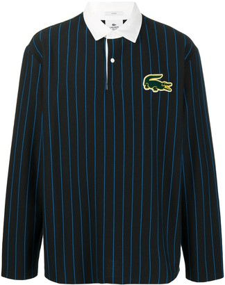 Lacoste Logo-Patch Pinstripe Rugby Shirt