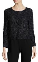 Haute Hippie Beaded 3/4-Sleeve Cardigan, Black