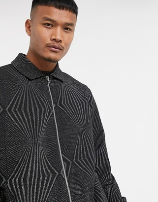 Asos Design DESIGN co-ord relaxed boxy jersey harrington jacket in party jacquard fabric in black