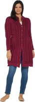 Aran Craft Merino Wool Long Button Front Cardigan