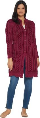 Aran Craft Merino Wool Long Button Front Cardigan