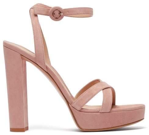 Gianvito Rossi Poppy 100 Suede Platform Sandals - Womens - Nude