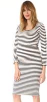 Monrow Maternity Stripe Long Sleeve Dress