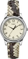 Timex Women's T2P0882M Black/White Python Patterned Leather Strap Watch