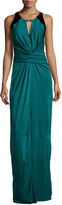 Halston Sleeveless Ruched-Front Evening Gown, Dark Pine/Black