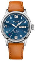 HUGO BOSS Pilot Stainless Steel and Leather Strap Bracelet Watch, 1513331