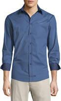 English Laundry Diamond Dobby Sport Shirt, Navy