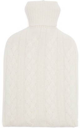 Johnstons of Elgin Johnston's Of Elgin - Cable-knitted Cashmere-cover Hot Water Bottle - White