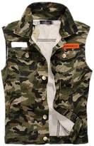 Hzcx Fashion mens denim vest Military Camouflage travel vests with pocket -US STAG XL