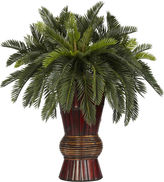 Asstd National Brand Nearly Natural Cycas Silk Plant with Bamboo Vase