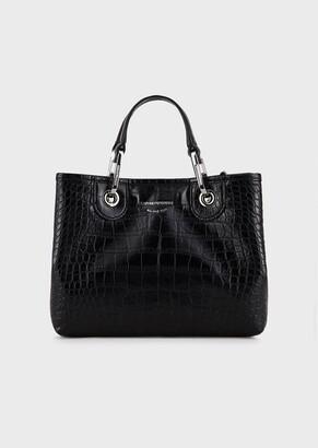 Emporio Armani Myea Bag Small Shopper In Patent Leather