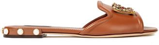 Dolce & Gabbana Bianca Logo-embellished Leather Slides