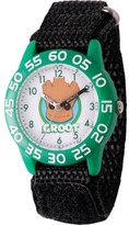 Marvel Guardians of the Galaxy Evergreen Groot Boys' Greed Plastic Time Teacher Watch, Black Hook and Loop Nylon Strap