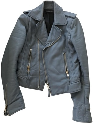 Balenciaga Blue Leather Jacket for Women