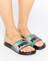 Puma Swan Iridescent Slider Sandals In Black