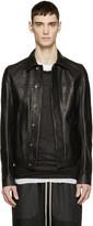 Rick Owens Black Grained Leather Worker Jacket