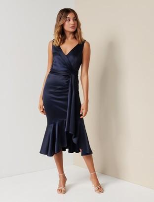 Forever New Gracelyn Satin Wrap Midi Dress - Navy - 10