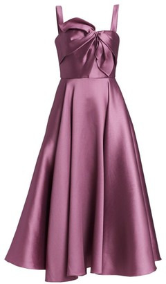 Marchesa Bow Detail Midi Cocktail Dress