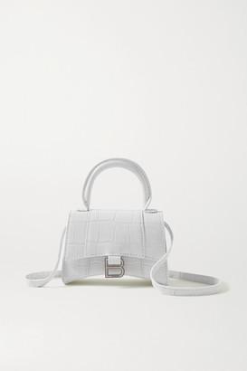 Balenciaga Hourglass Nano Croc-effect Leather Tote - White