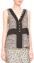Altuzarra Sleeveless Scarf-Print Silk Top, Black