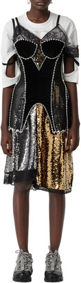 Burberry Crystal Embellished Stretch Mesh & Velveteen Corset Top