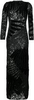 Romance Was Born feather applique gown - women - Silk/Polyester/Sequin - 8