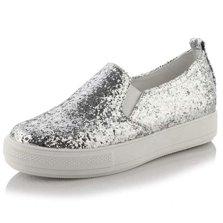 08037833207b8 KingRover Women's Fashion Platform Glitter Sequin Slip On Low Heel Loafers  Hidden Heel Wedges Comfortable Sneakers Flat Shoes