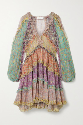 Zimmermann Carnaby Ruffled Tiered Floral-print Silk Crepe De Chine Mini Dress - Green