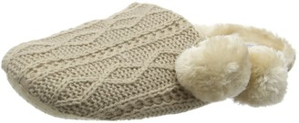 Eaze Women's Cable Knit Fur Pom Low-Top Slippers