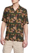 Neiman Marcus Men's Green Floral Short-Sleeve Sport Shirt