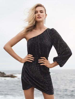 Forever New Penelope One Sleeve Sequin Dress - Black - 10