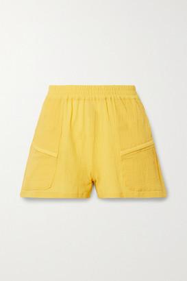 Paradised - Prim Crinkled Cotton-gauze Shorts - Saffron